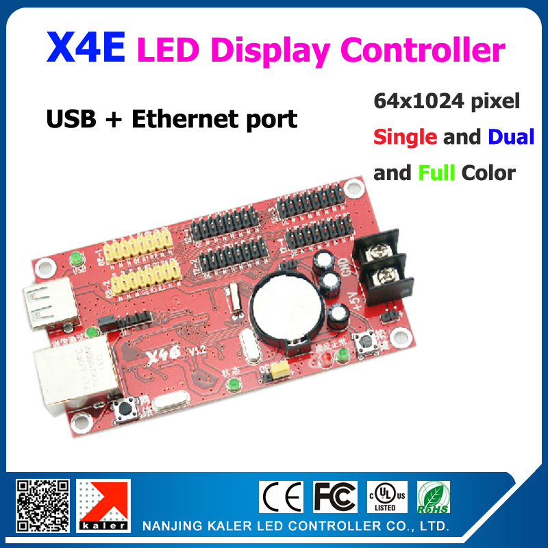 Factory Price Ready To Ship Easy Operation Ethernet Usb Control Card X4E Support Single Dual Color Running Text Controller Board