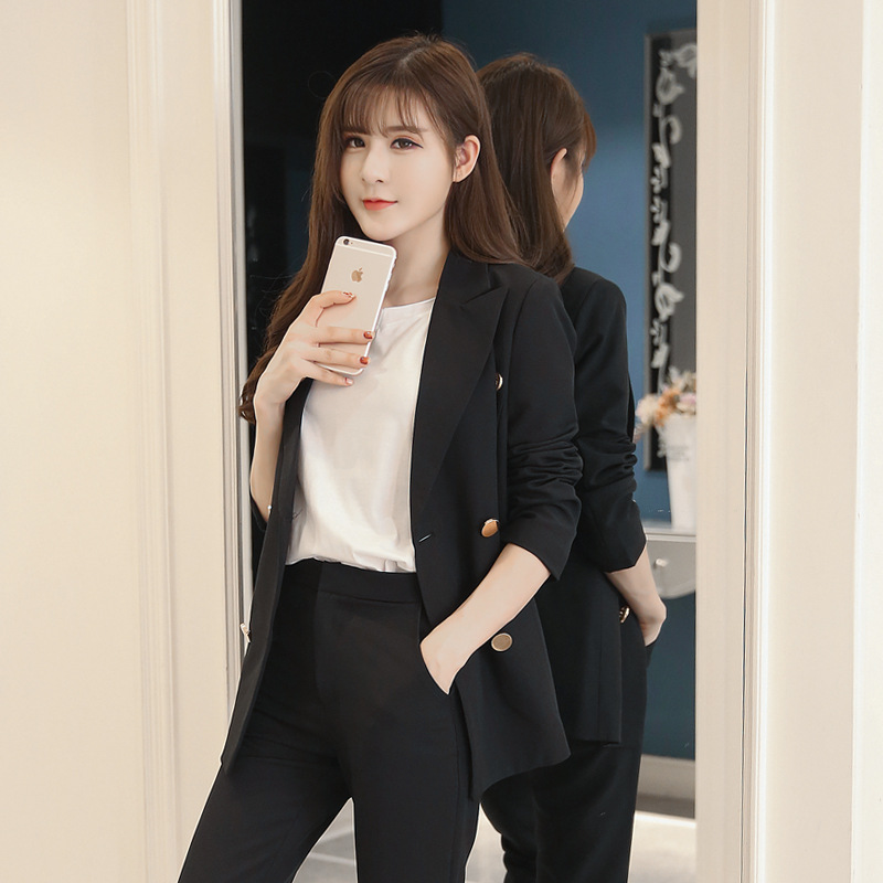 Classic Female Costume Women's Suits With Pants Casual Double-breasted Black Suit Jacket Female Fashion Trousers Suit Work Suit