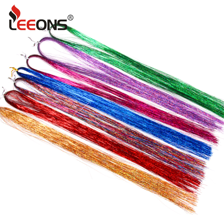 Leeons Hair Green Purple 16inch Sparkel Synthetic Clip In One Piece Hair Bling Rainbow Silk Hair Tinsel Synthetic Hair Extension Synthetic Clip-in One Piece Hair Extensions & Wigs