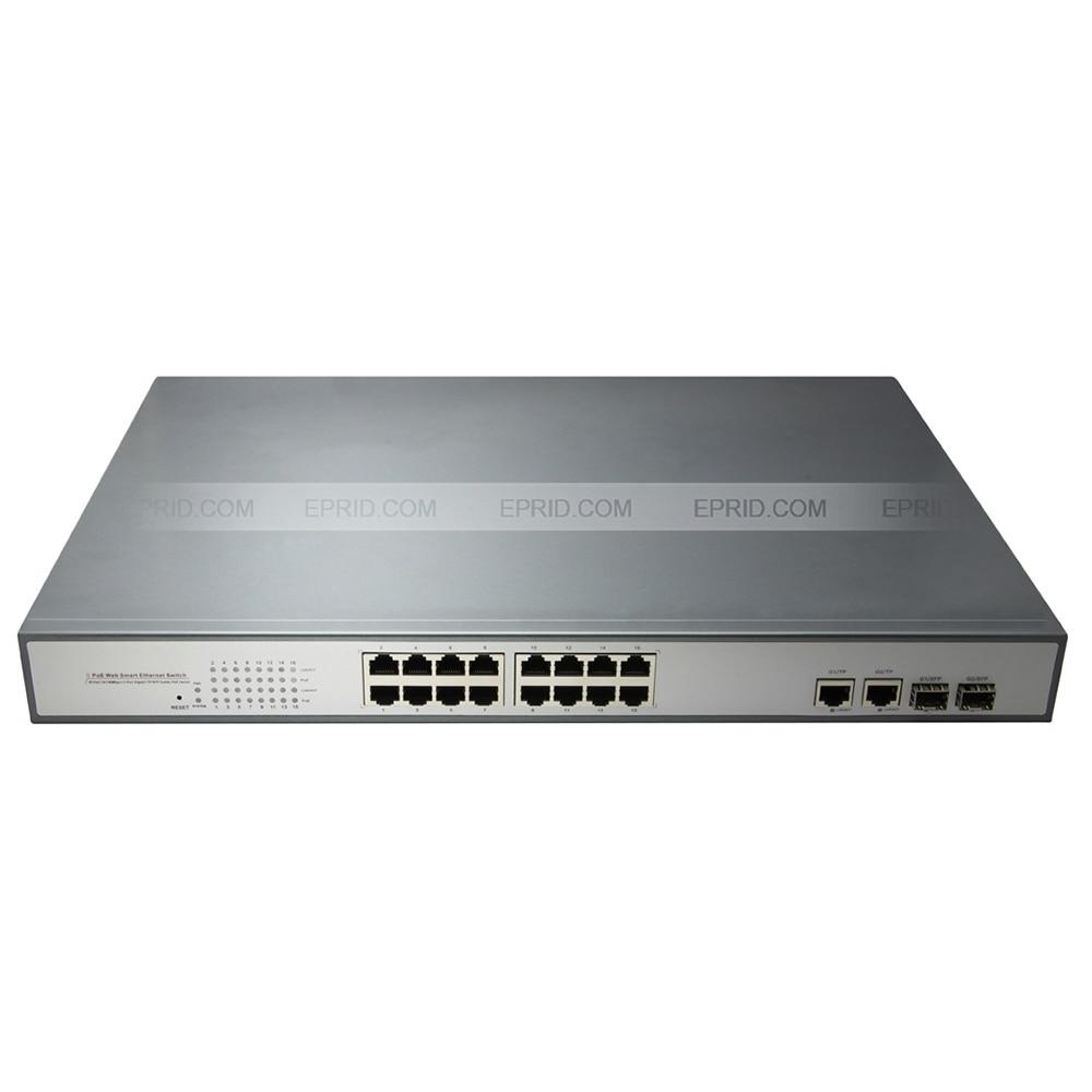 16-Port PoE switch with 2 Gigabit TP/SFP Combo Ports 802.3af 15.4W 10/100Mbps