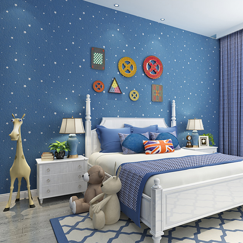Modern Boys Bedroom Baby Wallpaper Non woven Blue Sky Star Moon ...