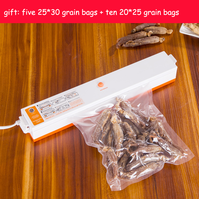 ФОТО Fast Free shipping 220V Automatic Electric Food Vacuum Sealer Portable Household Vacuum Packing Machine Gift 15 bags