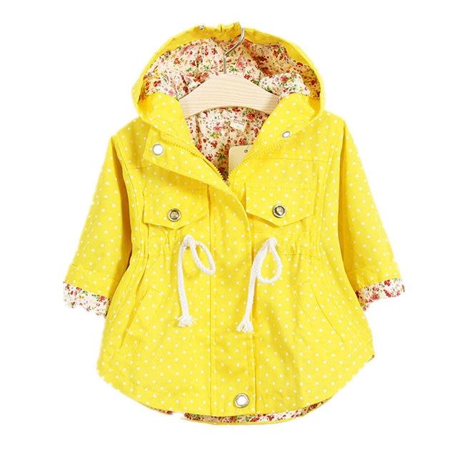 Куртки для Обувь для девочек весна желтая куртка 2018 модная детская одежда пальто с капюшоном в горошек Повседневное детская верхняя одежда Casaco для маленьких девочек одежда