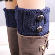 Knit Boot Cuffs Buttons Crochet Toppers Thermal Covers Reversible Women Socks