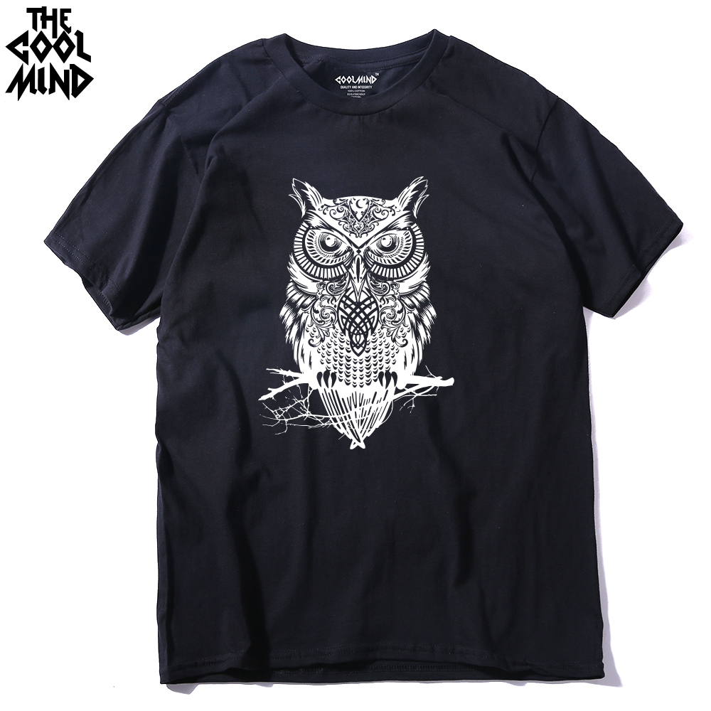 THE COOLMIND Top Quality Cotton Casual Short Sleeve Casual O-neck Loose OWL Printed Men T Shirt