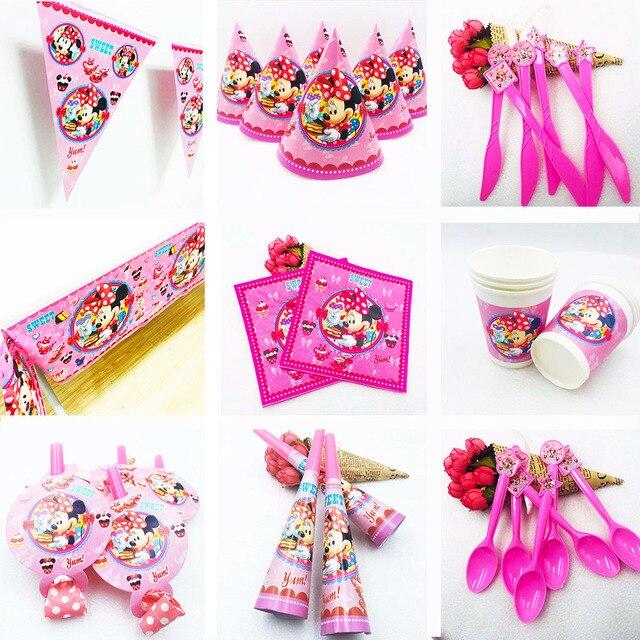 Комплект с декором Минни Маус для девочек на день рождения, Минни все необходимое для вечеринки кружка с ремнем, вилки, детский праздничный комплект для дня рождения