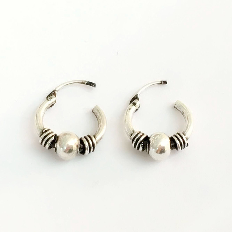 Silver Hoop Earrings Small India Indian Tribal