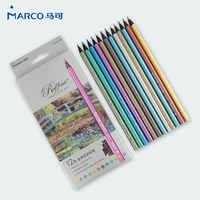 JIANWU 12 unids/set MARCO 12 de color lápiz de color de Metal serie 2B lápices de Dibujo a lápiz de Pintura especial