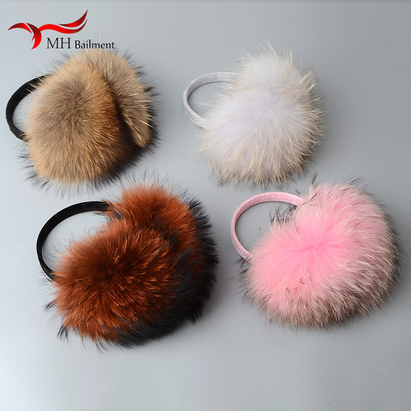 Oversized Really Big Raccoon Fur Earmuffs Korean Real Fur Earmuffs Lovely Personality Plush Fur Ear Cover Warm Gift 96