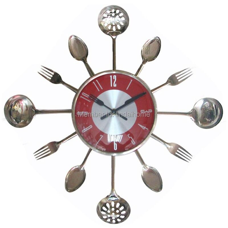 Uniquebella Metal Kitchen Cutlery Utensil Wall Clock Spoon: Aliexpress.com : Buy 18Inch Large Decorative Wall Clocks