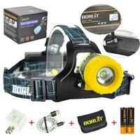 Boruit B11 CREE XMLT6 LED Headlamp Headlight Zoomble USB LED Lamp Headlamp Rechargeable 18650 Battery Camping LED Lantern