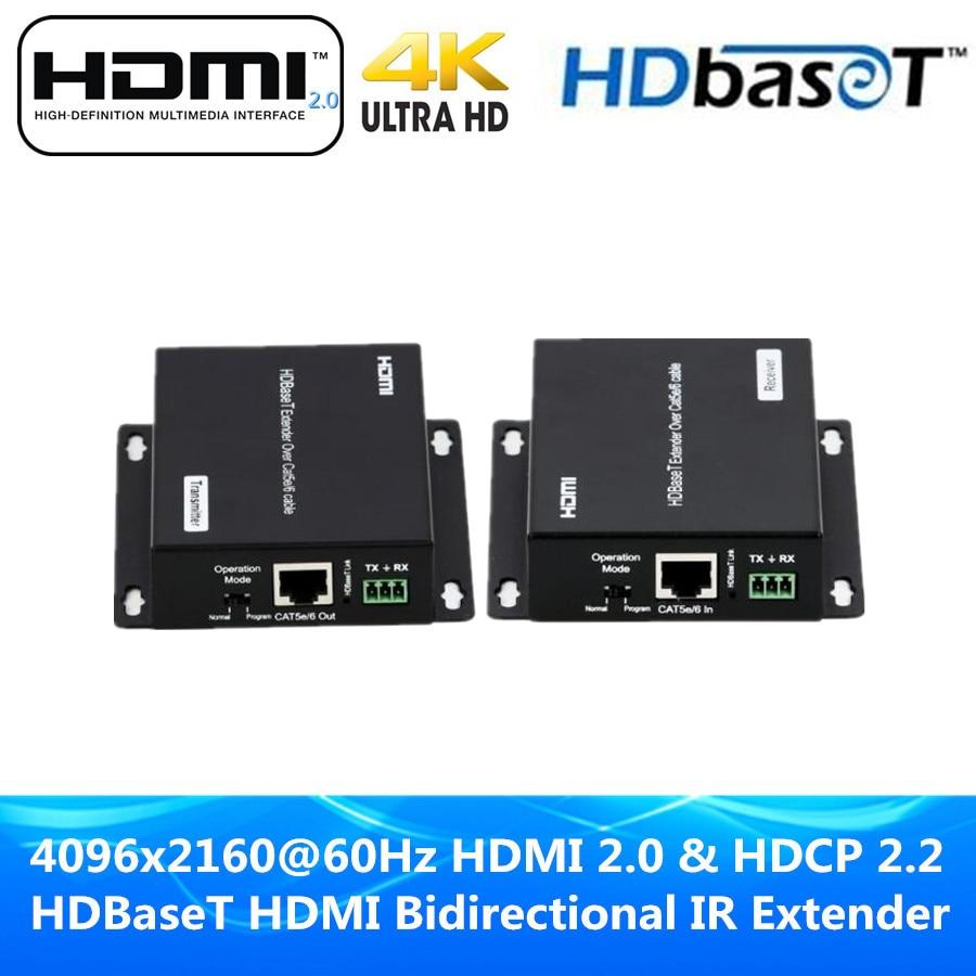UHD 4k @ 60 Гц HDMI 2.0 HDCP 2.2/1.4 Поддержка RS232 и 38 кГц ~ 56 кГц ИК трансмиссия HDMI HDBaseT poc Extender 70 м по UTP CAT5E CAT 6