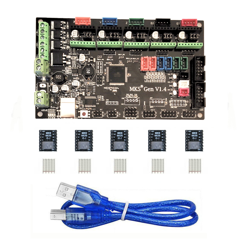 MKS Gen V1.4 3D Printer Control Board (MEGA2560 + RAMPS 1.4) with 5PCS Drv8825 Stepper Motor Driver