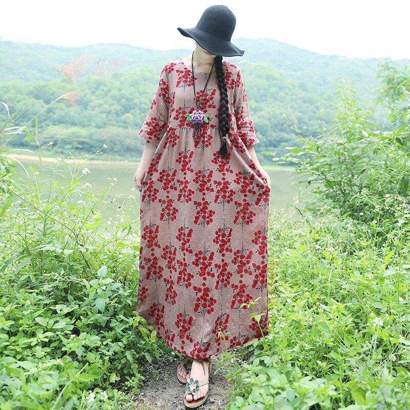 2018 Summer Elegant Vintage Wome Print Loose Pint Linen Dress Female Boho Beach Holiday Fairy Basic Dress