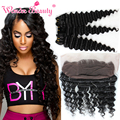 Queen Beauty Weave Virgin Indian Deep Curly Hair 3pcs With 13x4 Lace Frontal Top Closure Wet And Wavy Virgin Hair Deep Wave