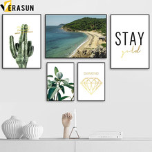 Sea Beach Resort Cactus Plant Seascape Wall Art Canvas Painting Nordic Posters And Prints Pictures For Living Room Decor