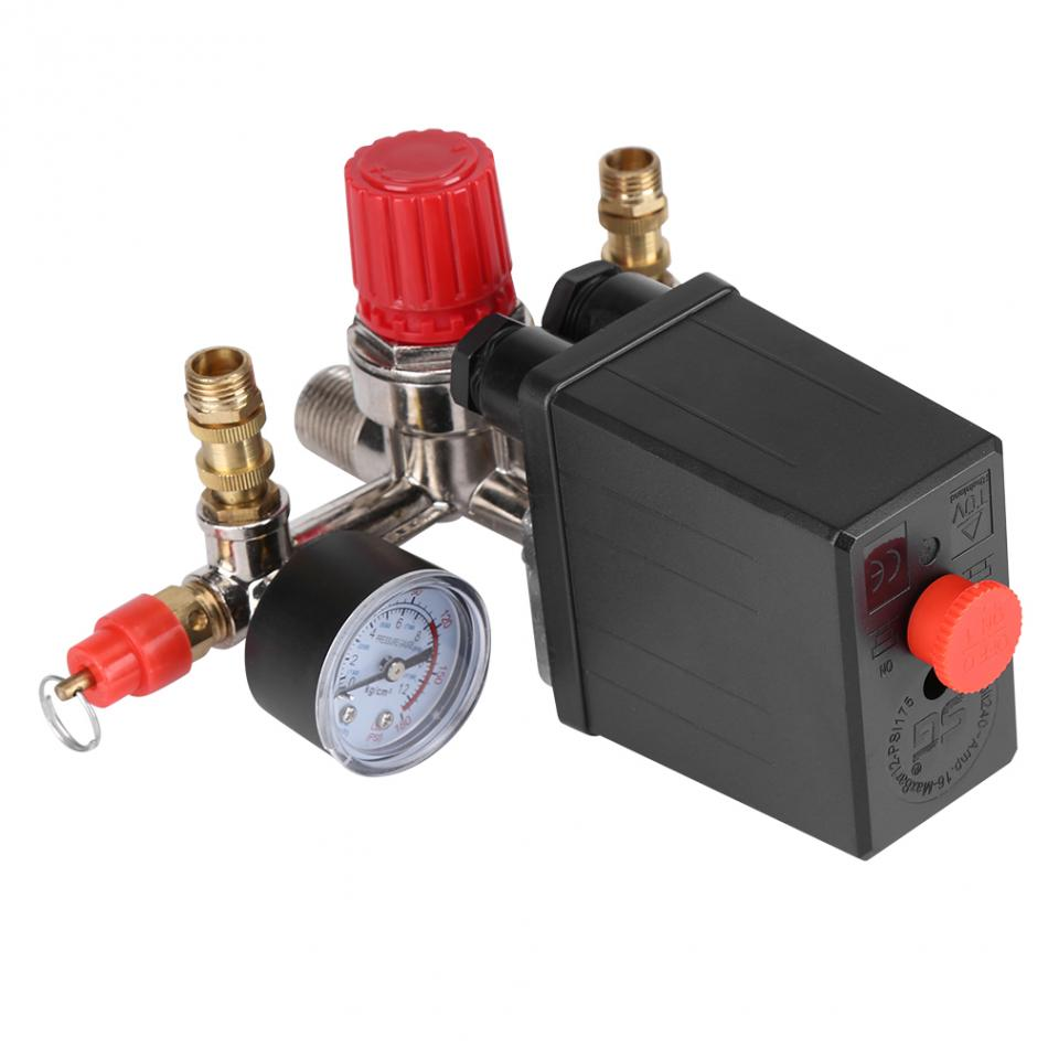 230V Air Compressor Pressure Control Switch Valve Regulator 90-120 PSI with Double Gauges vertical type replacement part 1 port spdt air compressor pump pressure on off knob switch control valve 80 115 psi ac220 240v