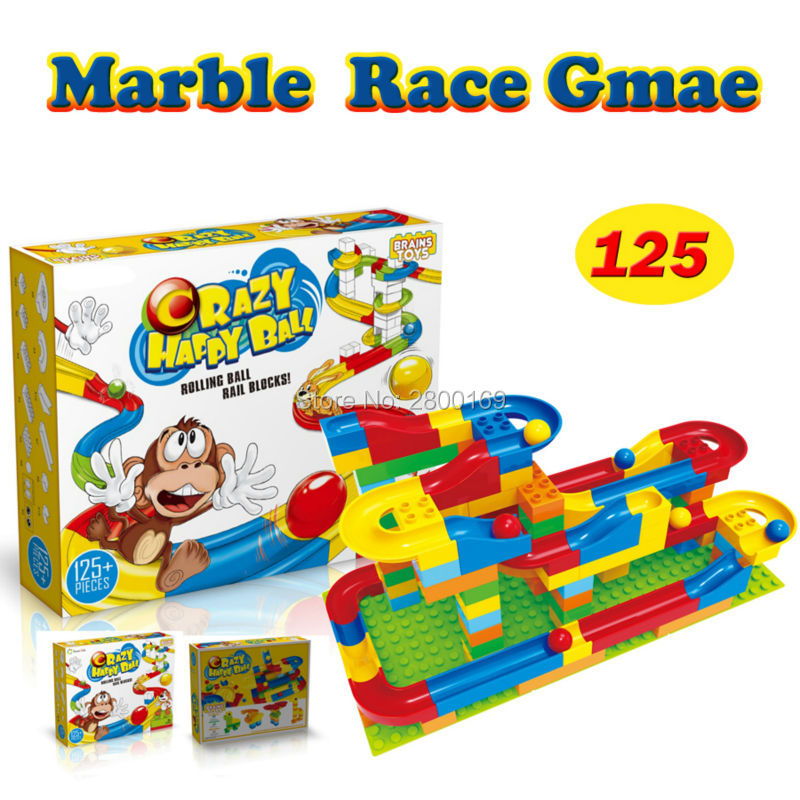 DIY Construction toy set Marble Race Run Maze Balls  rack crazy Building Blocks ball Game Educational toys for children ball finding game ru bun lock children puzzle toy building blocks