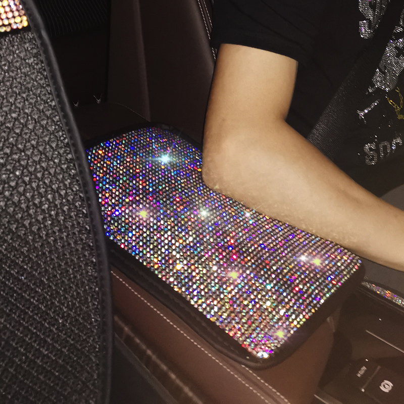 Pad Interior-Accessories Car-Armrests-Cover Rhinestone Cushion-Protector Crystal Vehicle