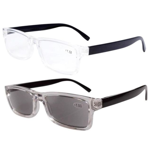 3594900097ff FR003 Mix 2-pack Plastic Frame Reading Glasses Including Tinted Readers + 1.25 1.5 1.75 2.0 2.25 2.5 2.75 3.0 3.5 4.0