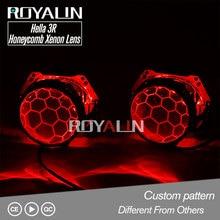 цена на ROYALIN Hella 3R G5 Honeycomb Bixenon Projector Headlights Lens Car Lights Retrofit Double Lenses Etching Service D1S D2S D2H