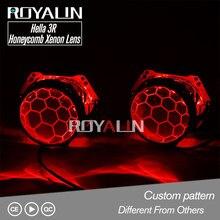 ROYALIN Honeycomb Blue Bixenon Projector For Hella 3R G5 H4 D2S Headlights Lens Car Lights Retrofit Lenses Etching D1S D2H