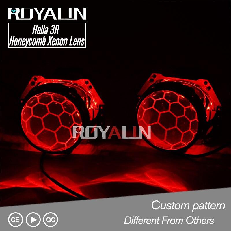 ROYALIN Hella 3R G5 Nid D'abeille Bixenon phares de projecteur Lentille Feux De Voiture Rénovation Lentilles Doubles Gravure Service D1S D2S D2H