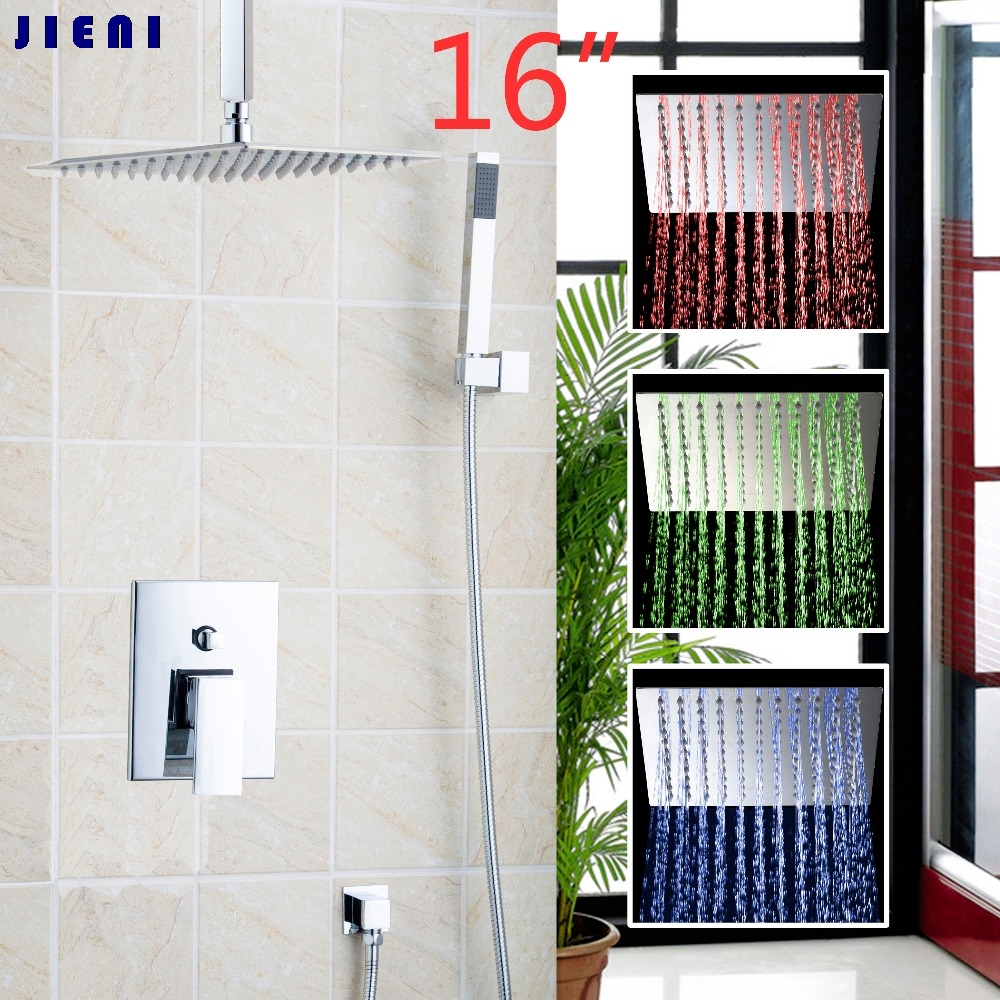 16 Wall Mounted Rain Shower Set Luxury Square Shower Head Shower Set with Handlde Shower Chrome
