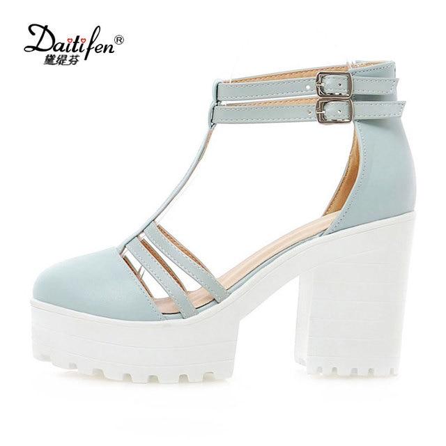 41ee028fb59 Daitifen Summer Women High Heels Platform Sandals Narrow Band Cover Head  Women Sandals Sweet Ladies Summer Party Dress Shoes