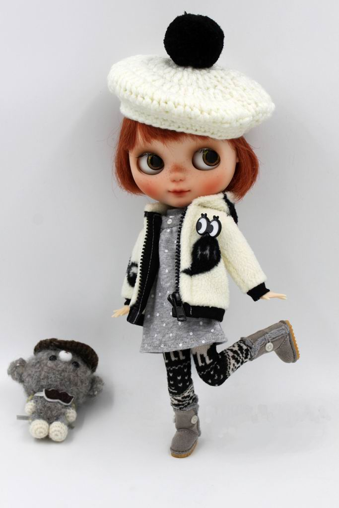 JSB06 Fashion BJD Doll Suit Three-piece Coat/Dress/Leggings For Blyth Doll Outfit Doll Accessories
