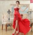 Moderator red dress sexy Bra dress catwalk models show the annual banquet small tail evening dress womendo596