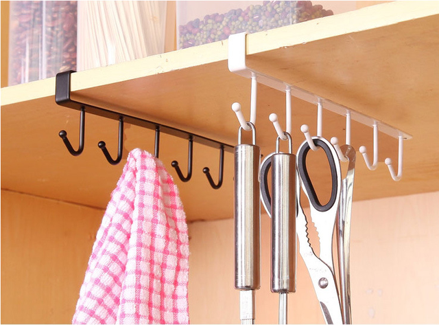 Kitchen Cabinet Under Shelf 6 Hooks Cup Holder Iron Hanging Storage Rack  Glass Mug Drinkware Organiser Bedroom Wardrobe Clothes