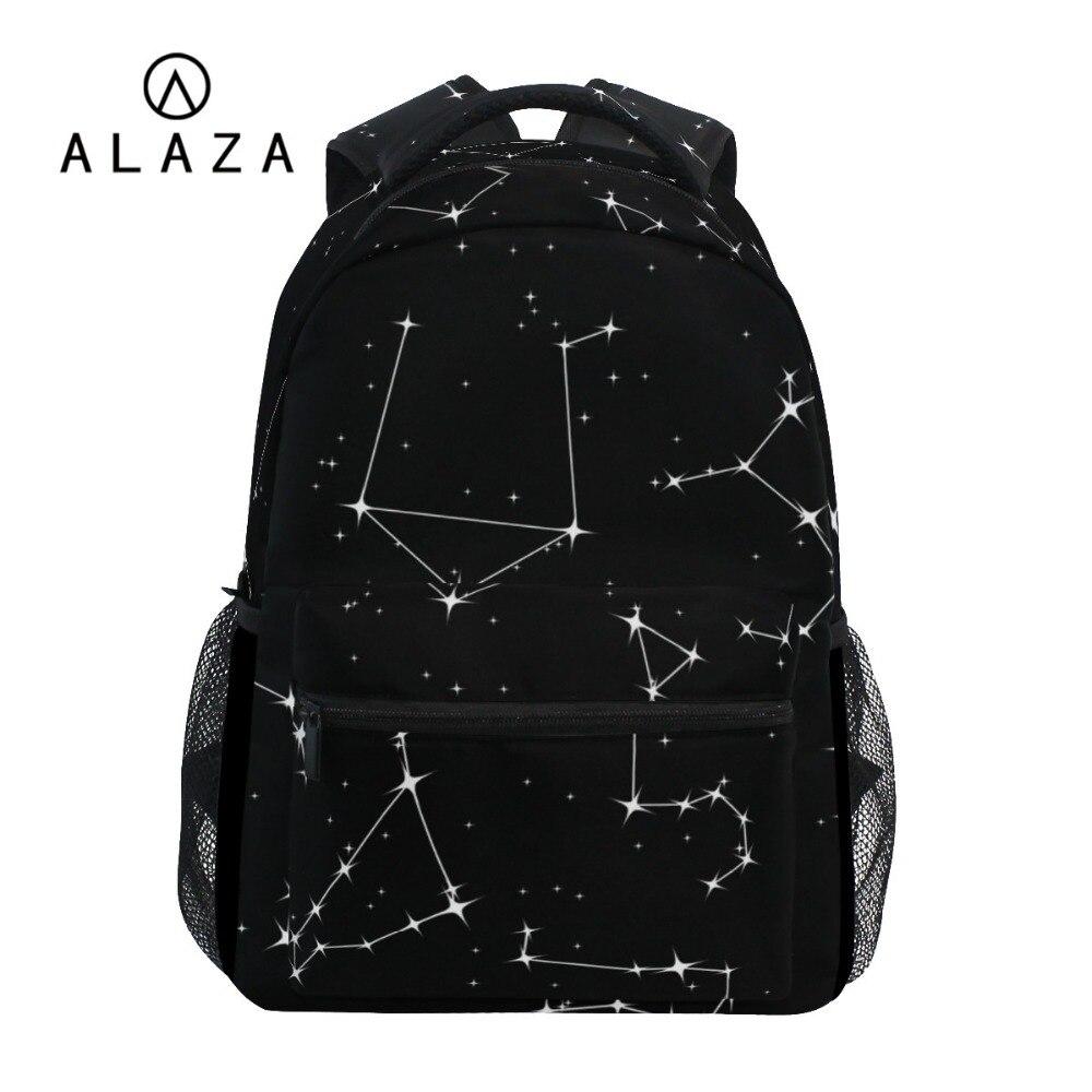 ALAZA 2019 noir sac à dos ciel étoiles impression femmes grande capacité sac de voyage étudiant sac d'école sac à dos pour ordinateur portable pour hommes cadeau