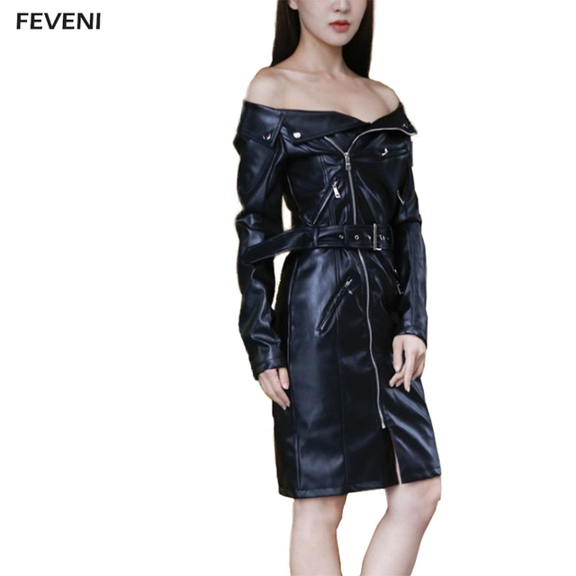 d963c3c968 Women Sexy Tunic Strapless Neck PU Leather Dress Zipper Pocket Long Sleeve  Off Shoulder Straight Sash Leather Dress Y03467