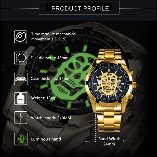 WINNER Official Golden Automatic Watch Men Steel Strap Skeleton Mechanical Skull Watches Top Brand Luxury Dropshipping Wholesale 3