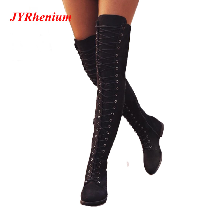 Sexy Lace Up Over Knee Boots Women Boots Flats Shoes Woman Square Heel Rubber Flock Boots Botas Winter Thigh High Boots 34-43 aiweiyi winter boots shoes woman high quality sexy women thigh high boots lace up knee boot high heel retro knight boots