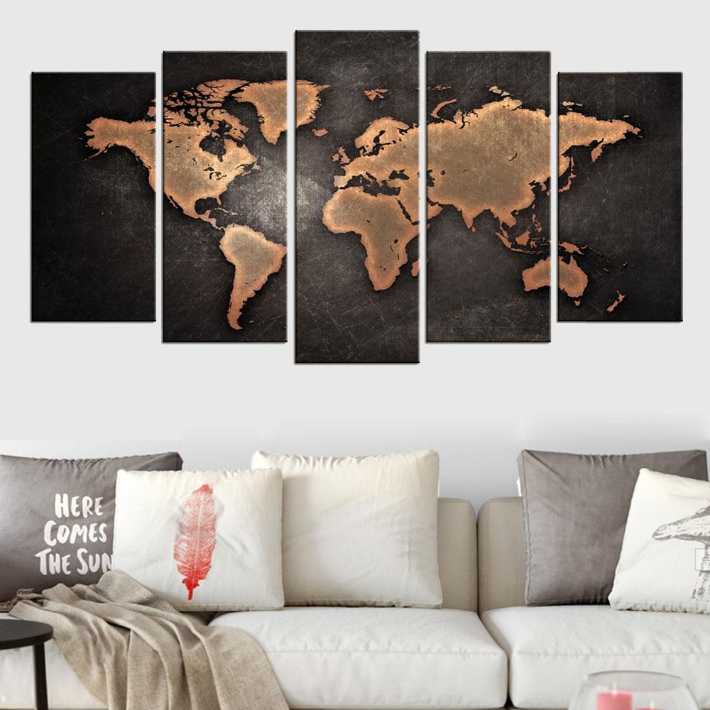 5 panneau carte du monde toile peinture moderne abstrait Global carte affiches toile impression Art mur photos pour bureau décor avec cadre
