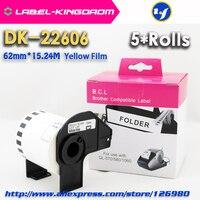 5 Rolls Brother Uyumlu DK 22606 Sarı Film Etiket 62mm * 15.24 M Için Uyumlu QL 570/700 Yazıcı Tüm gel Plastik tutucu Ile brother label brother printer labellabel printer brother -