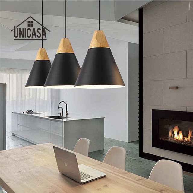 Vintage madera Lámparas colgantes aluminio negro moderno mini ...