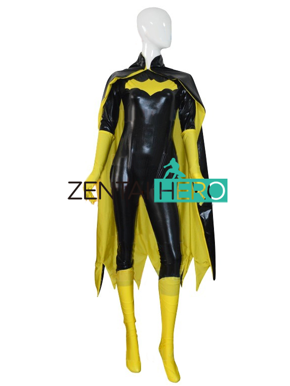 ZentaiHero New 52 Batgirl Female Superhero Costume Shiny Black & Yellow Halloween Cosplay Costume for Adults and Kids With Cape