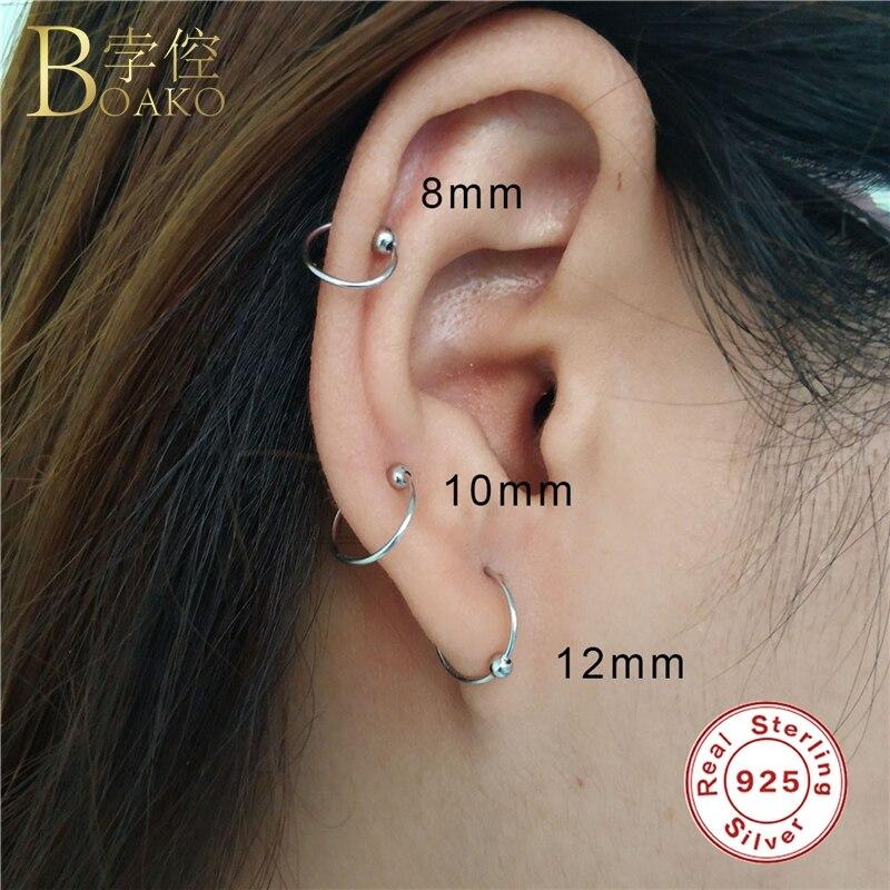 BOAKO Hip Hop Mini Small Hoop Earrings For Women 925 Sterling Silver Circle Eardrop Girl Rapper Gothic Jewelry Z5