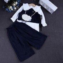 Зима 2016 Новый Южная Корея счетчики женский ребенка шерстяной костюм + ремень широкую ногу брюки из двух частей установить бесплатная доставка