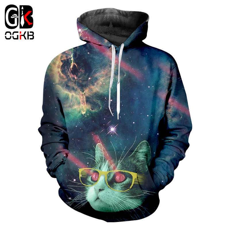 Ogkb Для Мужчин's Flash Light худи с кошкой забавные Галактическое пространство 3D толстовка с принтом «человек в стиле хип-хоп, с длинными рукавами и с капюшоном, спортивные костюмы, топы