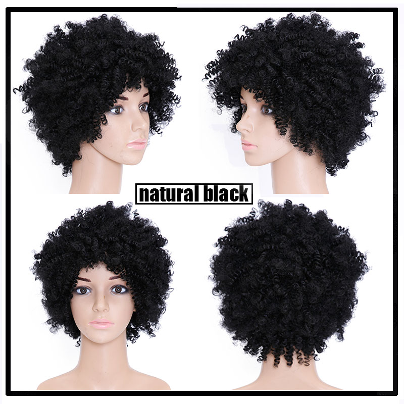 Natural Afro Wig Kinky Curly Wigs For Black Women Best Synthetic Female Wig  Short Hair Wigs For Black Women Fake Hair Pieces 2615faad3c