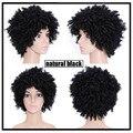 Natural Peruca Afro Kinky Curly Perucas Para As Mulheres Negras Melhor Sintético feminino Peruca de Cabelo Curto Perucas Para As Mulheres Negras Falso Pedaços de Cabelo