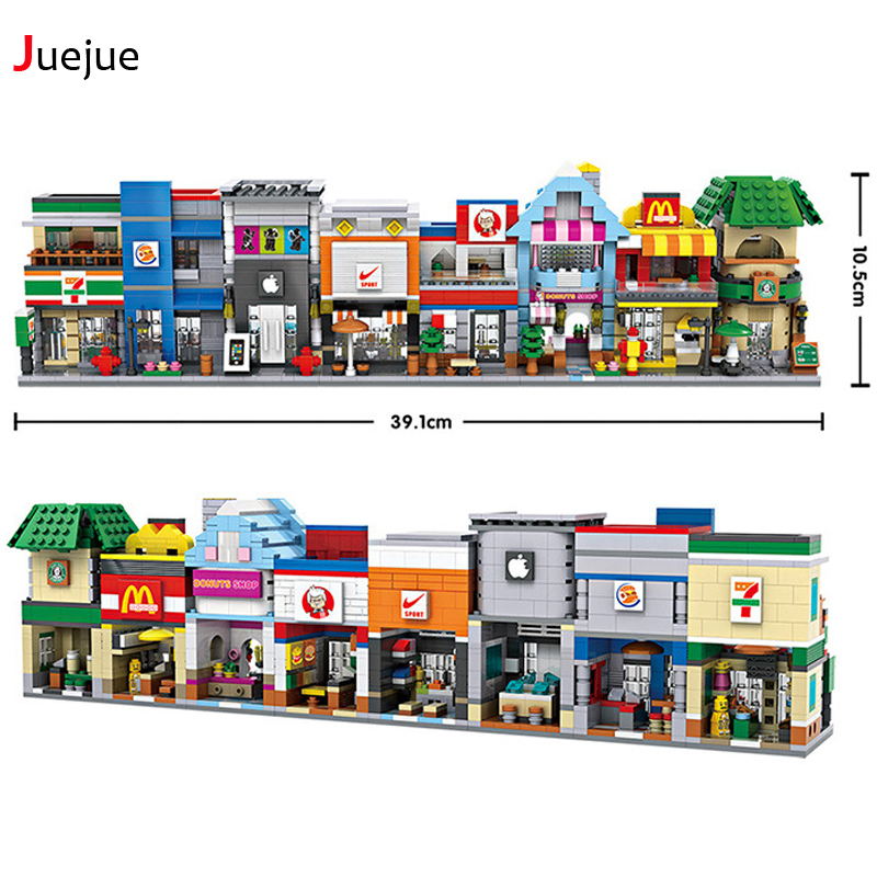 City Mini Street Model Store Series Starbucks Apple KFC Shop Model Building Blocks 6401-6412 Compatible with Lego Hsanhe For kid lepin 02012 city deepwater exploration vessel 60095 building blocks policeman toys children compatible with lego gift kid sets