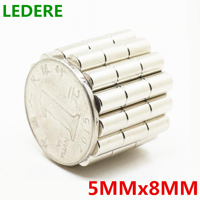 LEDERE 50/100pcs 5x8 Neodymium Magnet 5mm*8mm Strong Rare Earth Neodymium Magnets NdFeB Permanent Magnetic 5mmx8mm 5*8 diy 5 x 5mm cylindrical ndfeb magnet silver 20 pcs page 8