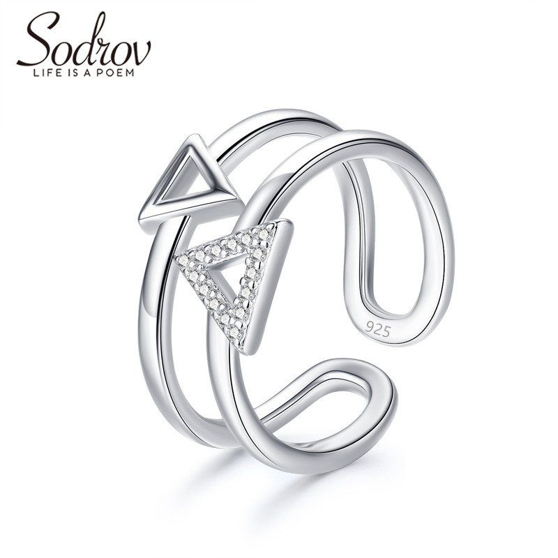 SODROV 925 Sterling Silver Triangle Party Adjusted Ring Jewelry For Women HR049