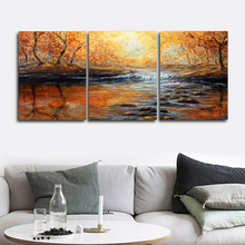 Laeacco Forest Sunrise River Posters and Prints Abstract Living Room Home Decor Paint On Canvas Painting Nordic Wall Art