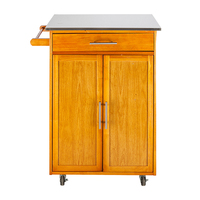 Simple fashion Moveable Kitchen Cart with Stainless Steel Table Top Kitchen organize storage cabinet Home furniture